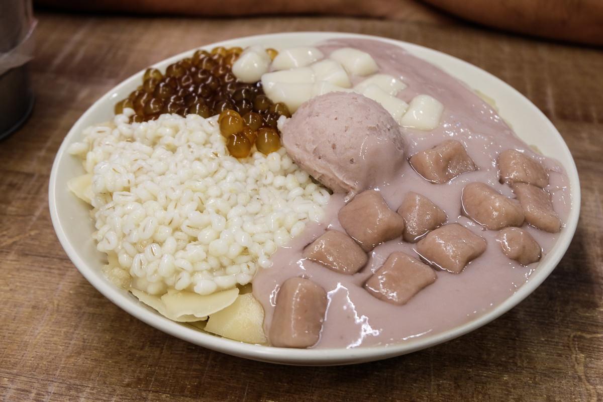 台北必吃芋頭冰》阿爸的芋圓特色蔗片冰,清甜爽口,超濃郁芋泥完美搭配/菜單